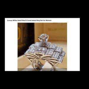 💍2 PC WEDDING SET STERLING SILVER  CZ💎BRAND NEW
